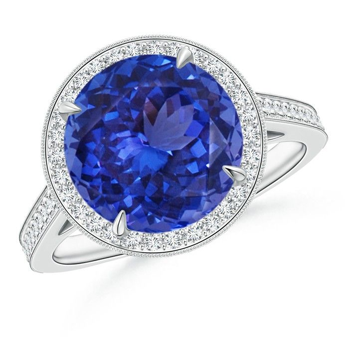 Angara Airline Set Tanzanite Solitaire Ring With Diamonds in White Gold d3mhv