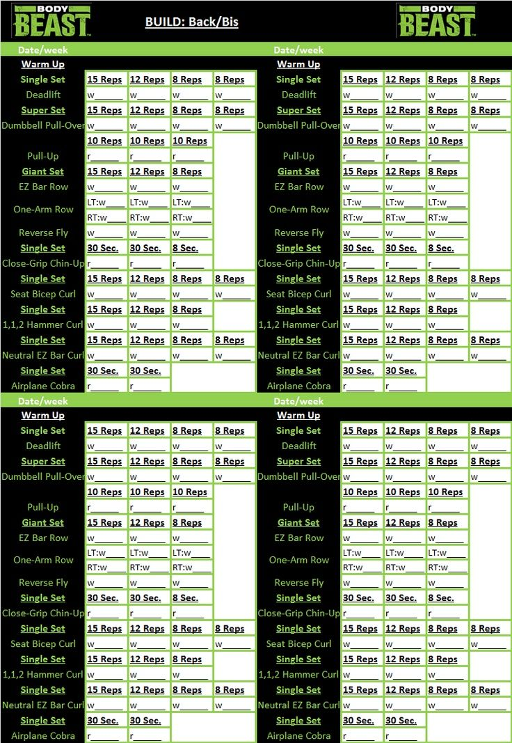 Beast Body Workout Sheets Yahoo Image Search Results