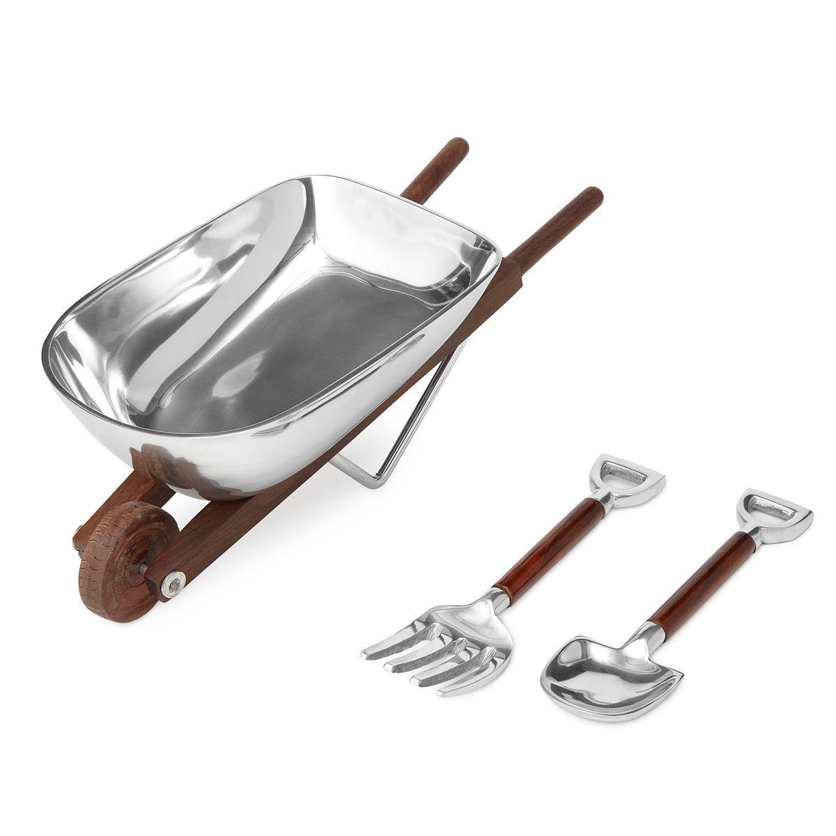 Alternative Metal Godinger Wheelbarrow Salad Bowl /& Servers