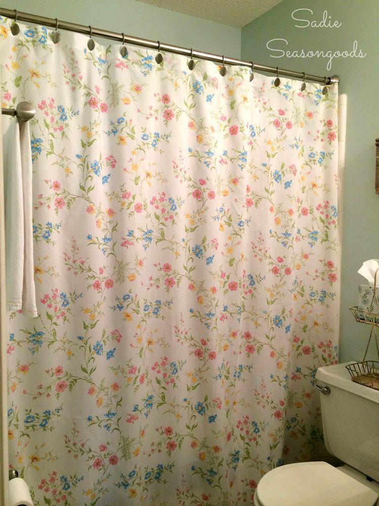 Vintage Bed Sheet Diy Shower Curtain Diy Shower Curtain Diy