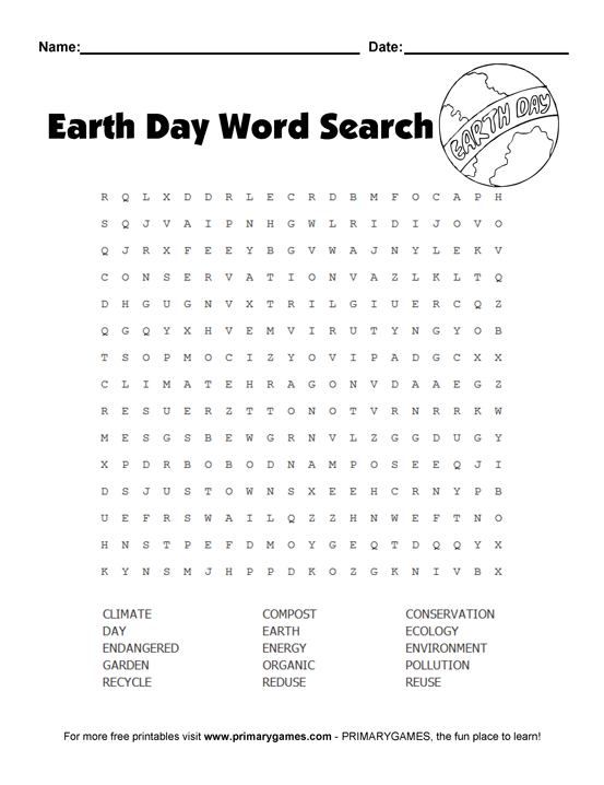 Earth Day Worksheets Earth Day Wordsearch Puzzle Earth Day