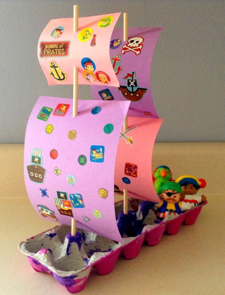 Eierkarton Basteln Kinder Eierschachtel Piratenschiff Schiff