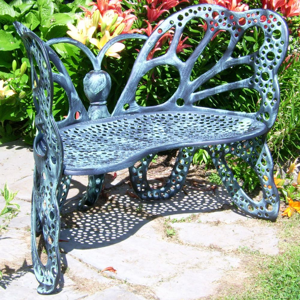 Excellent Backyard Ideas Antiqued Aluminum Butterfly Garden Bench Onthecornerstone Fun Painted Chair Ideas Images Onthecornerstoneorg
