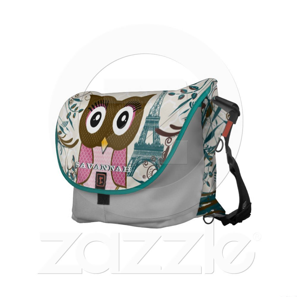 Eiffel Tower Cute Pink Owl You Choose Colors Messenger Bag from Zazzle.com