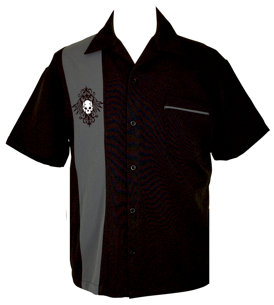 Skull Bowling Shirt Retro Skull Shirt Blade Bowling Shirts Mens Clothing Styles Men Shirt Style