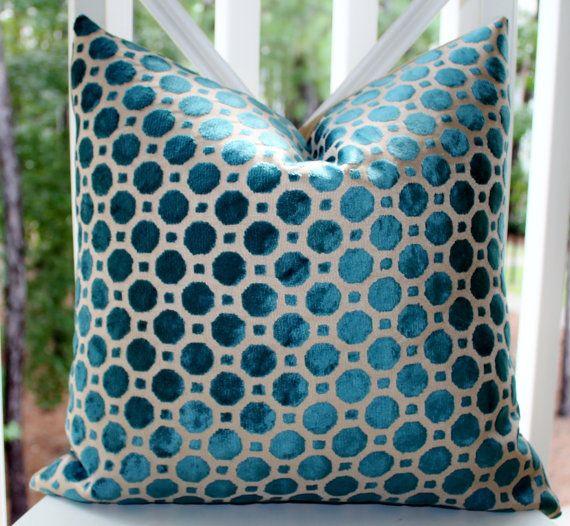 Decorative Designer Pillow Cover Geometric Turquoise Teal Velvet