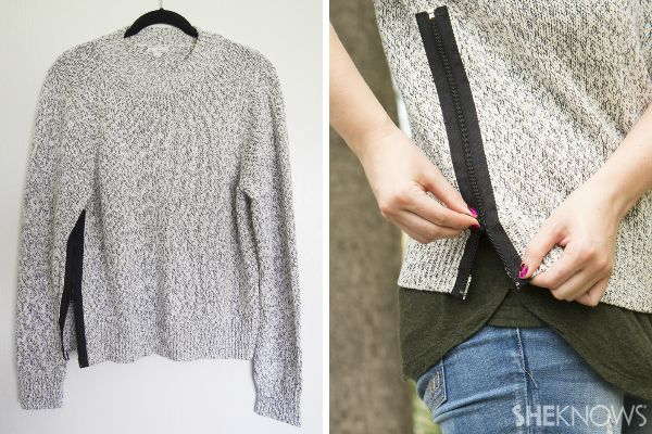 Fashion DIY: How to spruce up a plain sweater. I'm going to use a gold zipper but sew it to the inside so not to expose all of the zipper