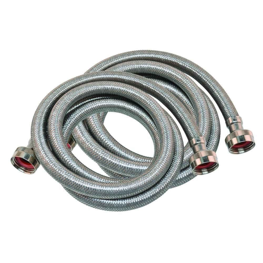 Eastman 3 4 In X 3 4 In X 6 Ft Braided Stainless Steel Washing Machine Hoses 2 Pack Silver In 2020 Washing Machine Hose Washing Machine Stainless Steel