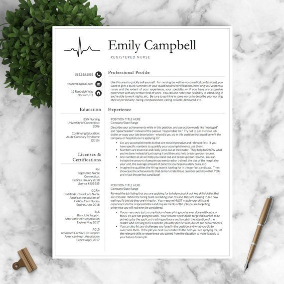 Nurse Resume Template for Word \ Pages   Medical Resume, Nurse CV - nursing resumes and cover letters
