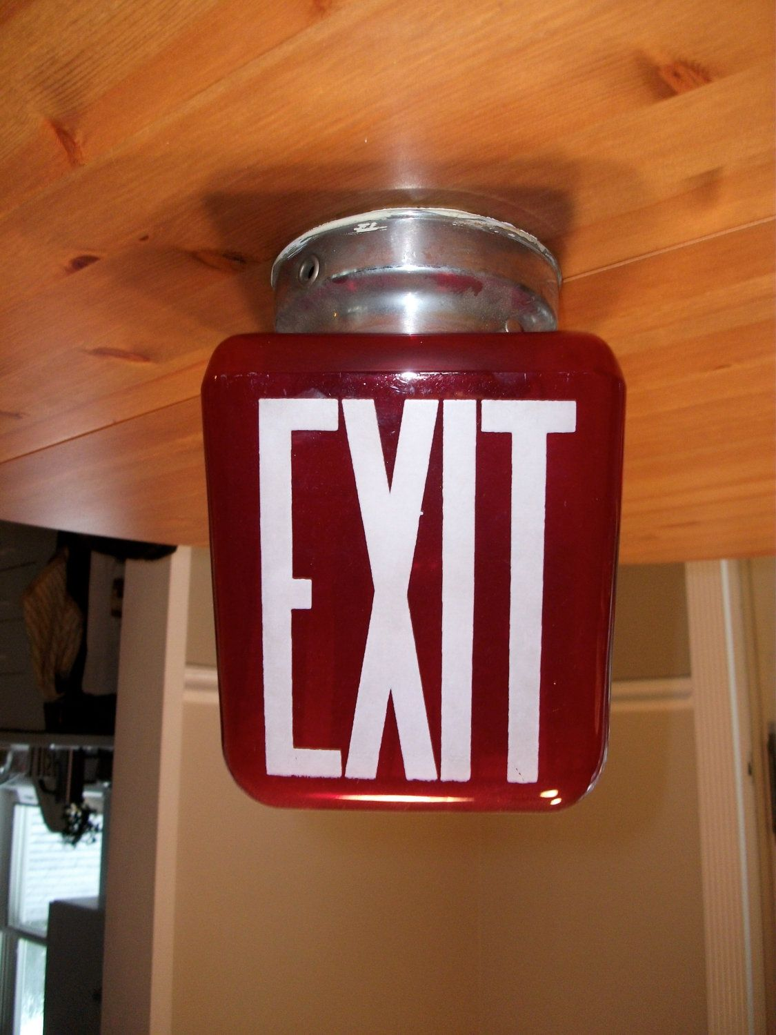 Vintage glass exit sign with light fixture and lightbulb art deco vintage glass exit sign with light fixture and lightbulb art deco 20000 via arubaitofo Choice Image