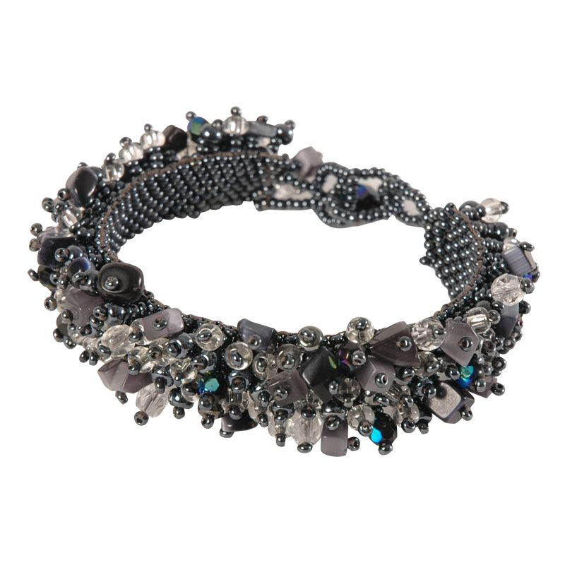An explosion of beads this unique fuzzy bracelet