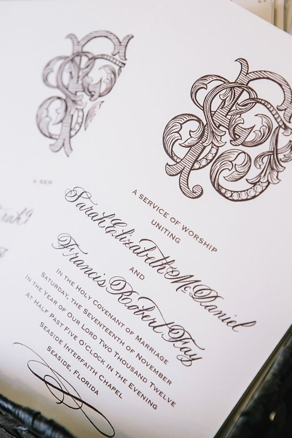 cute wedding card ideas%0A Cream and Brown Wedding Invitation With Intricate Monogram