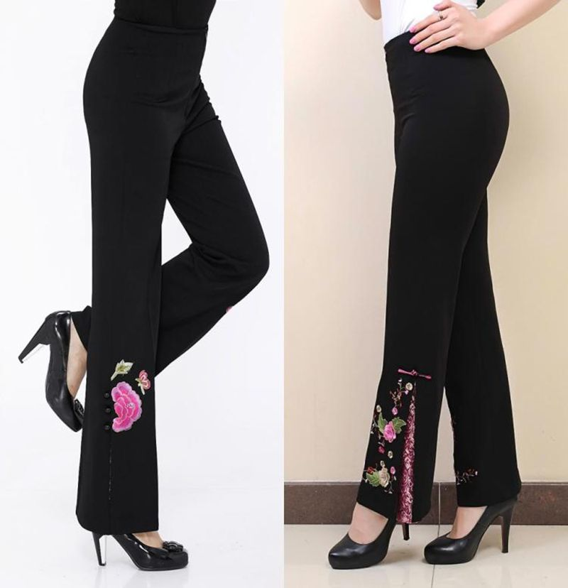 bf05db2c5d0 2017 Tang suit embroidery women pants trousers wide leg pants black  embroidery flower pants high waist clothing trend plus size