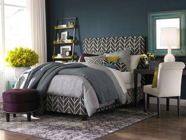 Farbideen Schlafzimmer Einrichten Dunkle Wand Bett Pflanzen