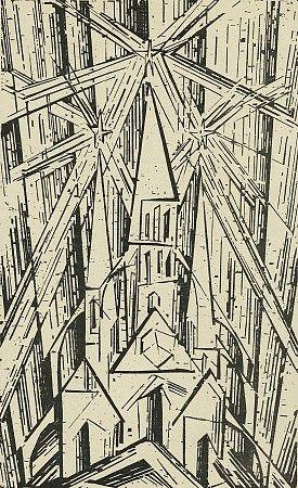 """Lyonel Feininger (Illustration), Walter Gropius (Autor) / Manifest und Programm des Staatlichen Bauhauses, April 1919, mit Titelblatt """"Kathedrale"""" von Lyonel Feininger, 1919 / Bauhaus-Archiv Berlin © 2015 VG Bild-Kunst, Bonn"""