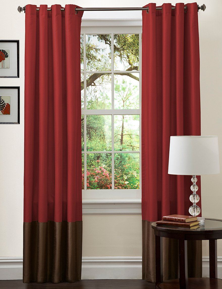 Prima Curtain Panels Set Of 2 Size 84 H X 54 W Color Red Chocolate
