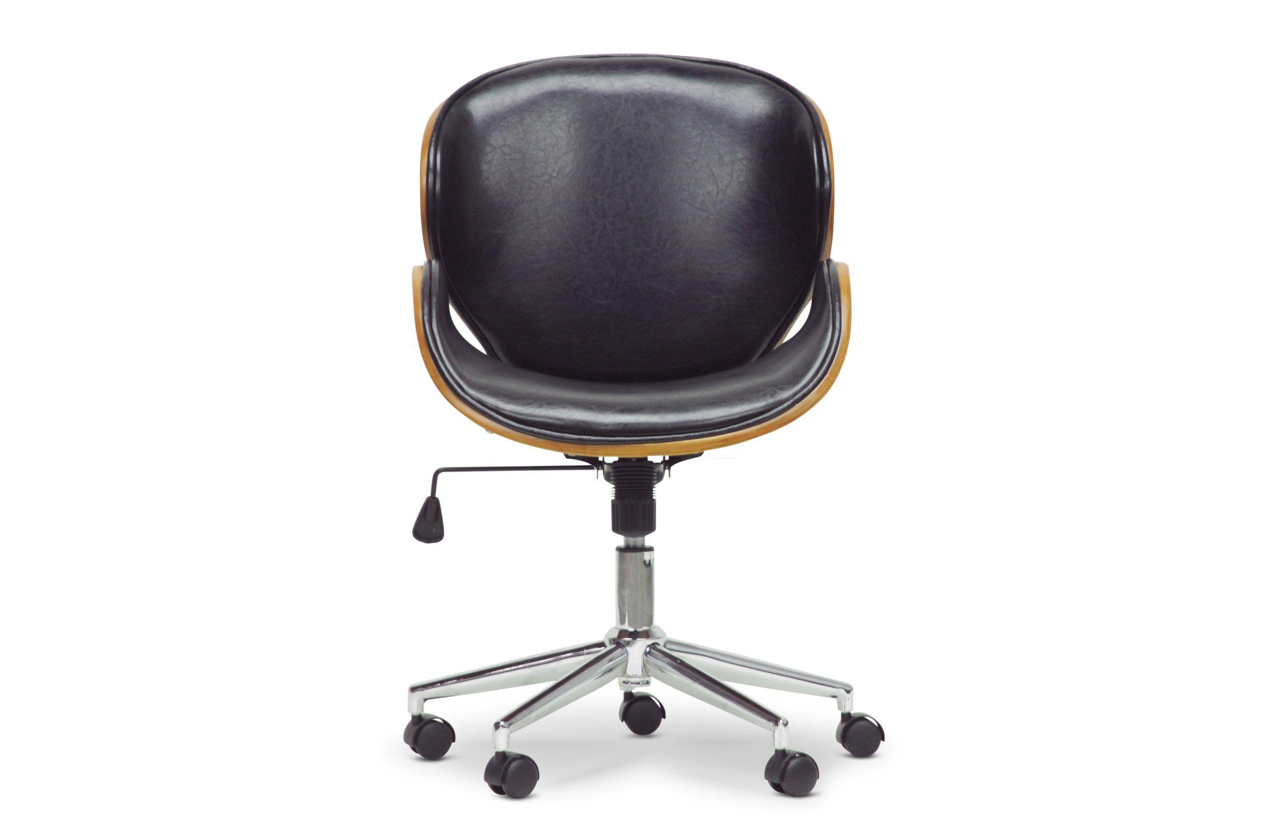 Baxton studio bruce modern office chair walnutblack