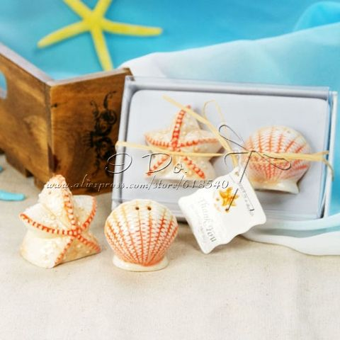 Free Shipping Ceramic Shell Star Salt And Pepper Shakers For Beach Theme Wedding Favor Beach Theme Wedding Favors Unique Wedding Favors Edible Wedding Favors