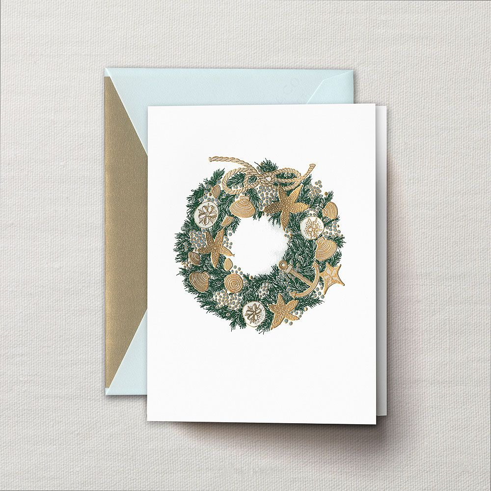 Engraved Seaside Wreath Holiday Greeting Card Ideas For The House