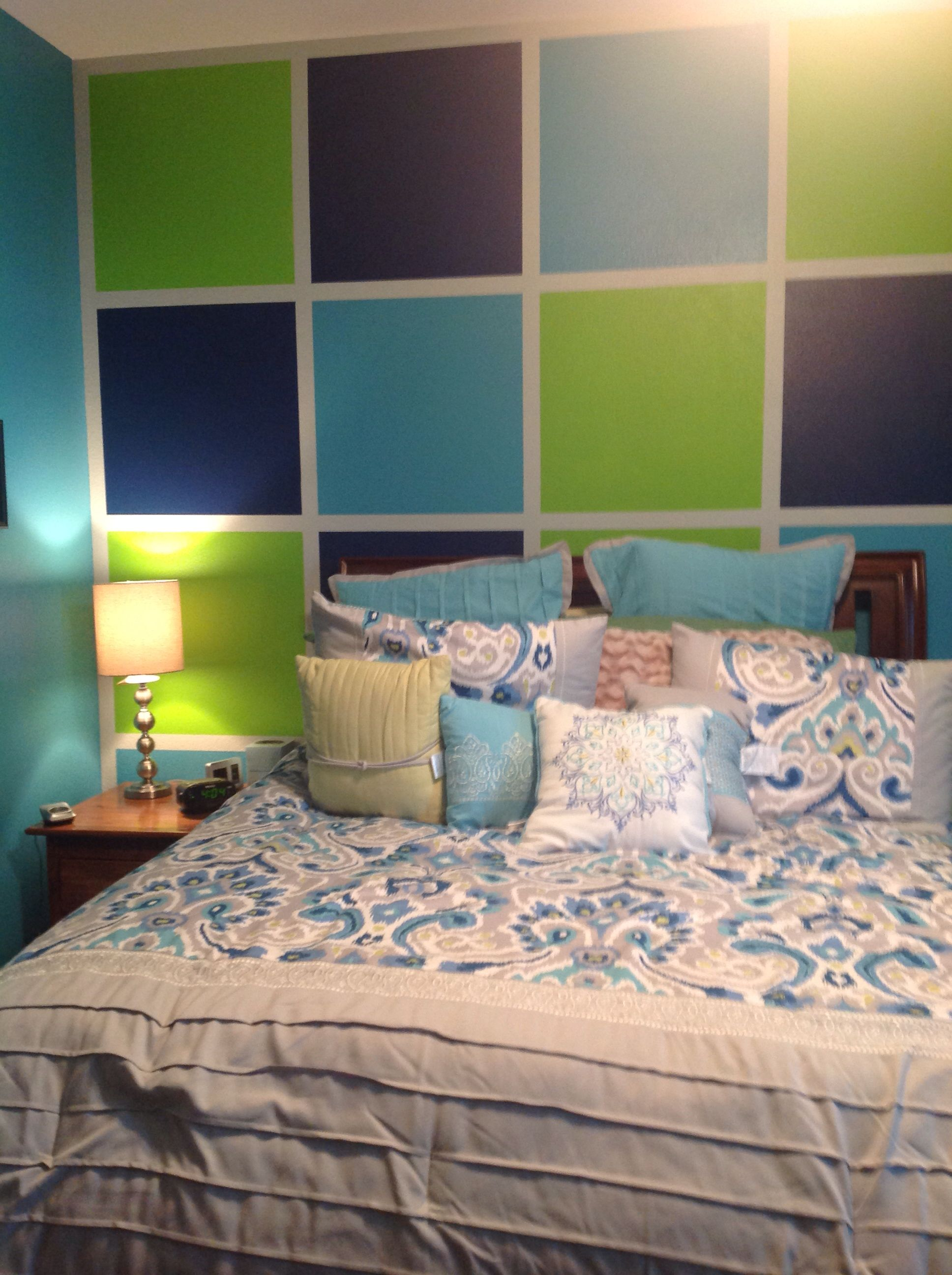 Love this new teenage girls room in aqua, lime green, and navy ...