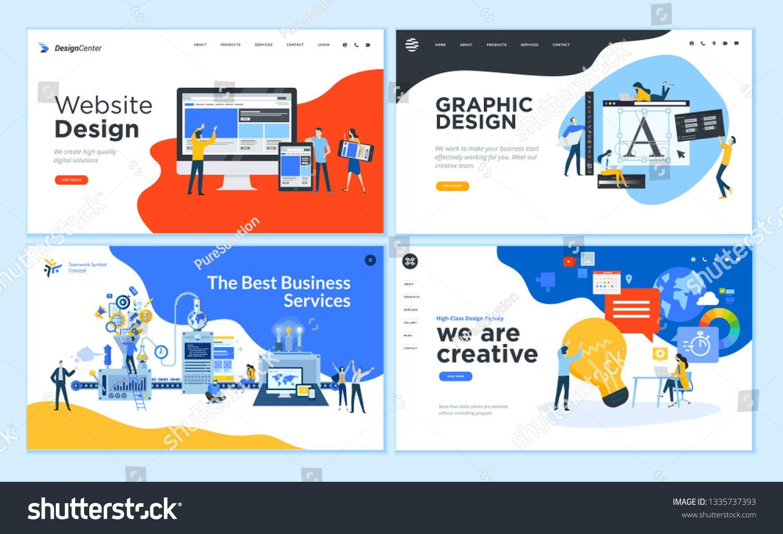 Set Of Flat Design Web Page Templates Of Graphic Design Website Design And Development Social Media Webpage Design Flat Design Website Graphic Design Website