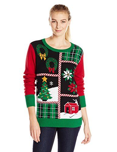 Patchwork Ugly Christmas Sweater with Lights for Women  212d3103677d