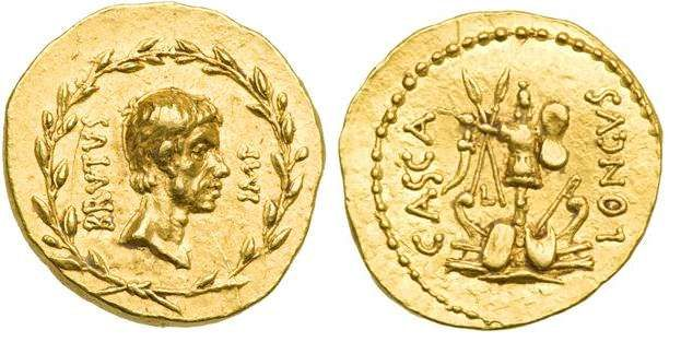 Marcus Junius Brutus AV Aureus, struck summer/autumn 42 BC. BRVTVS IMP, bare head right, all within laurel wreath / CASCA-LONGVS, combined military & naval trophies, with prows & shields, at base; a small L to left of trophy.