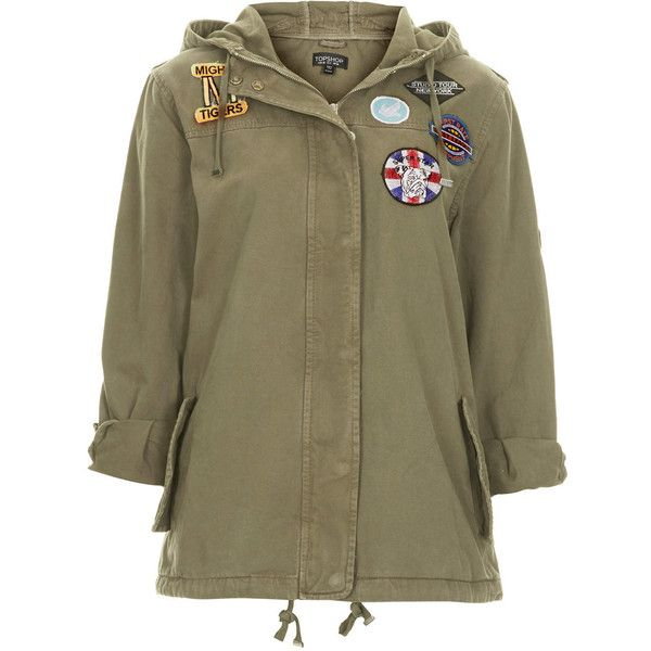 TOPSHOP Badged Lightweight Short Parka (345 BRL) ❤ liked on Polyvore featuring outerwear, coats, jackets, topshop, tops, khaki, topshop parka, cotton parka, short coat and cotton coat