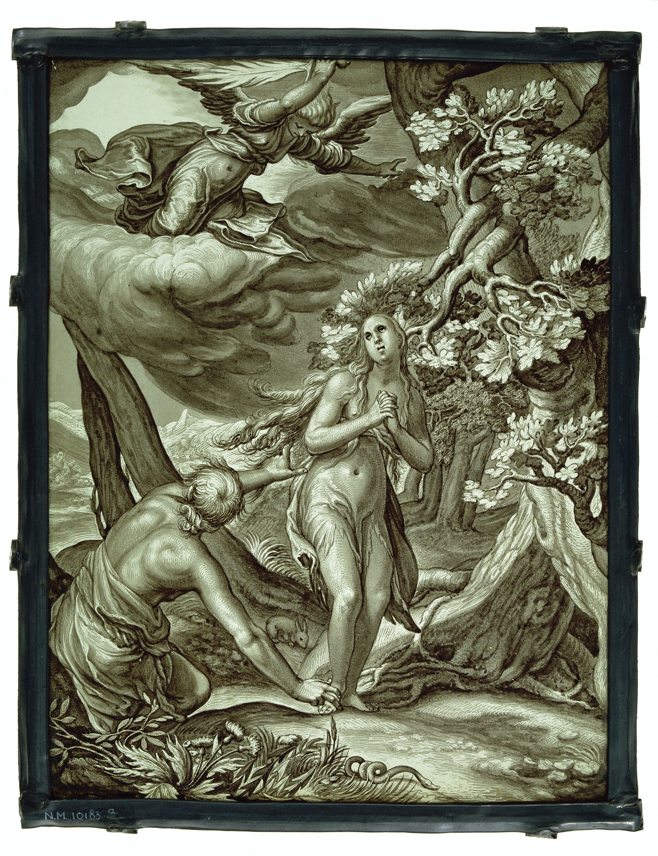 pane with the expulsion from paradise of adam and eve after 1604