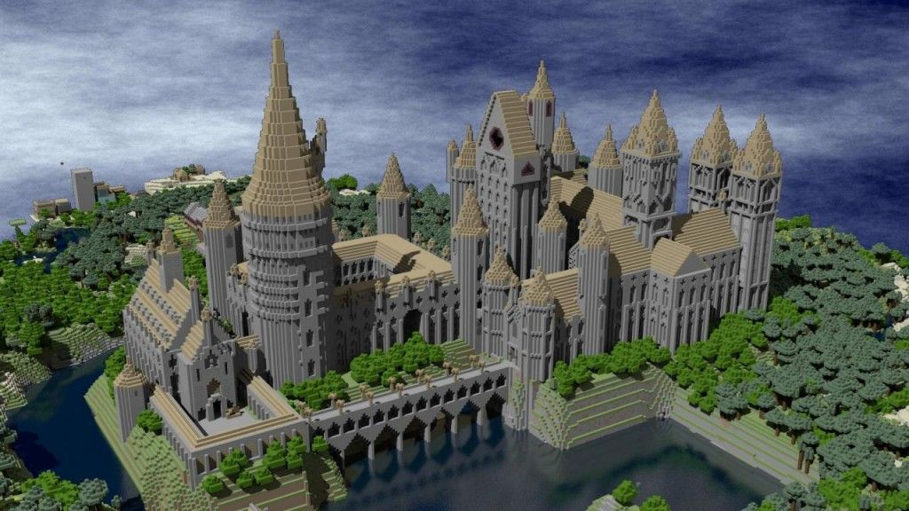Eight Literary Worlds Recreated In Minecraft Hogwarts Minecraft Minecraft Blueprints Minecraft Castle