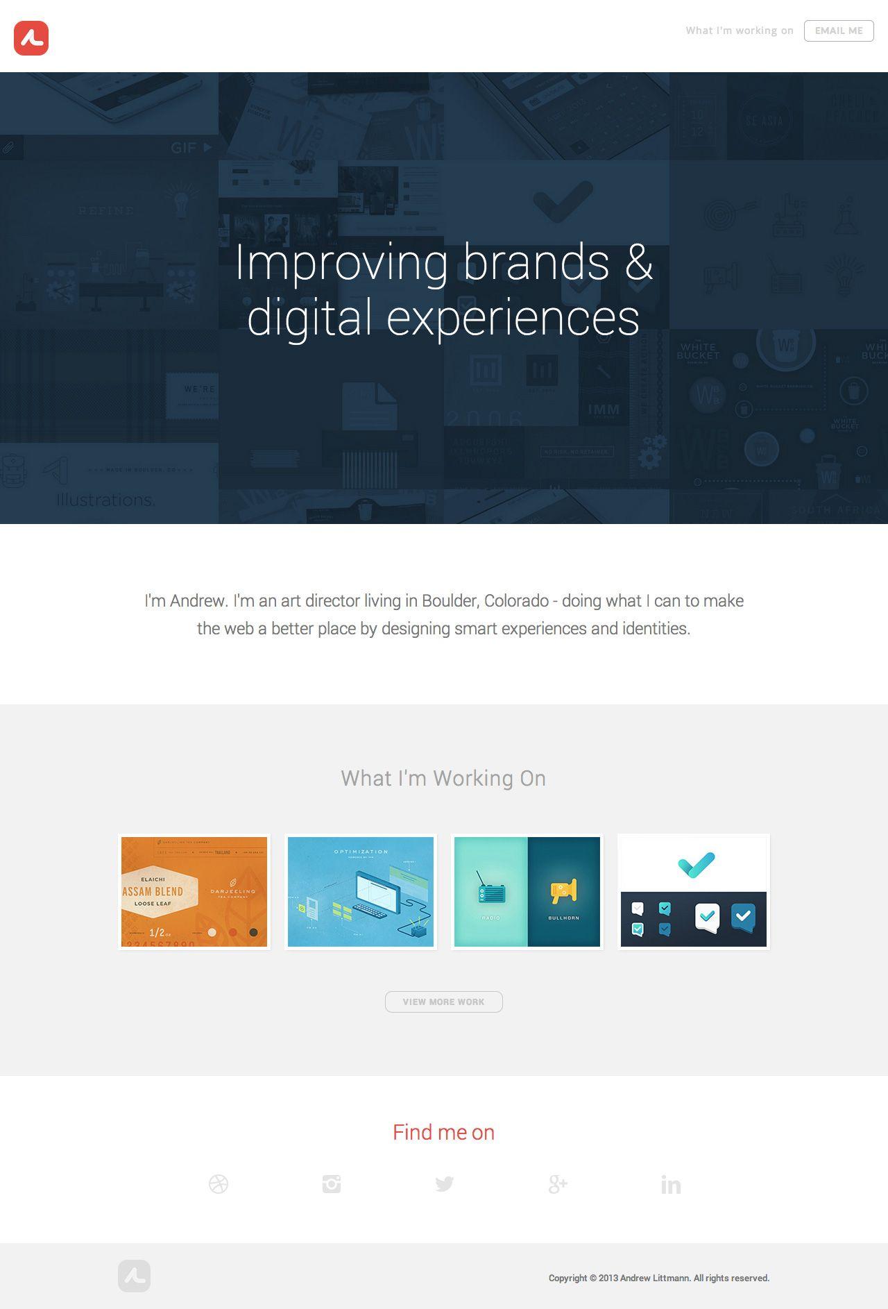 Simple but slick one page portfolio for designer Andrew