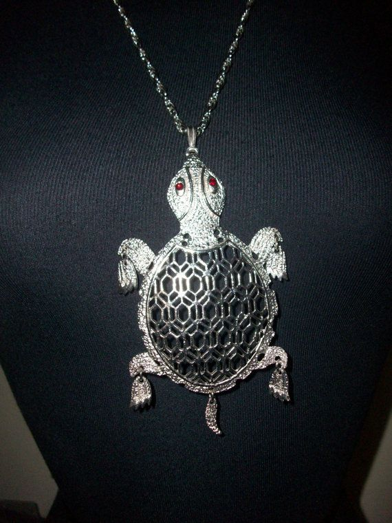 Extremely Large Adorable Silver Tone Turtle Pendant by MICSJWL, $28.00
