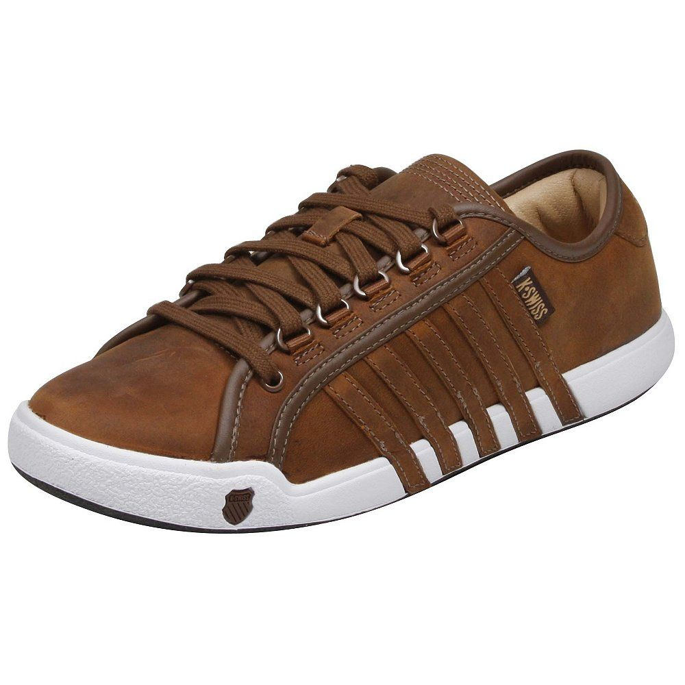44.99 K-Swiss Newport Sneakers Durable leather upper; Lightly padded collar for a snug; comfy fit; Lace-up front with D-ring eyelets detail; Textile lining with removable sockliner for your convenience