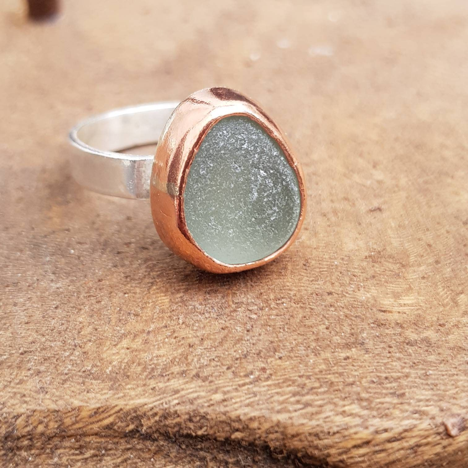 Mixed Metal Ring, Sea Glass Ring in Silver and Copper