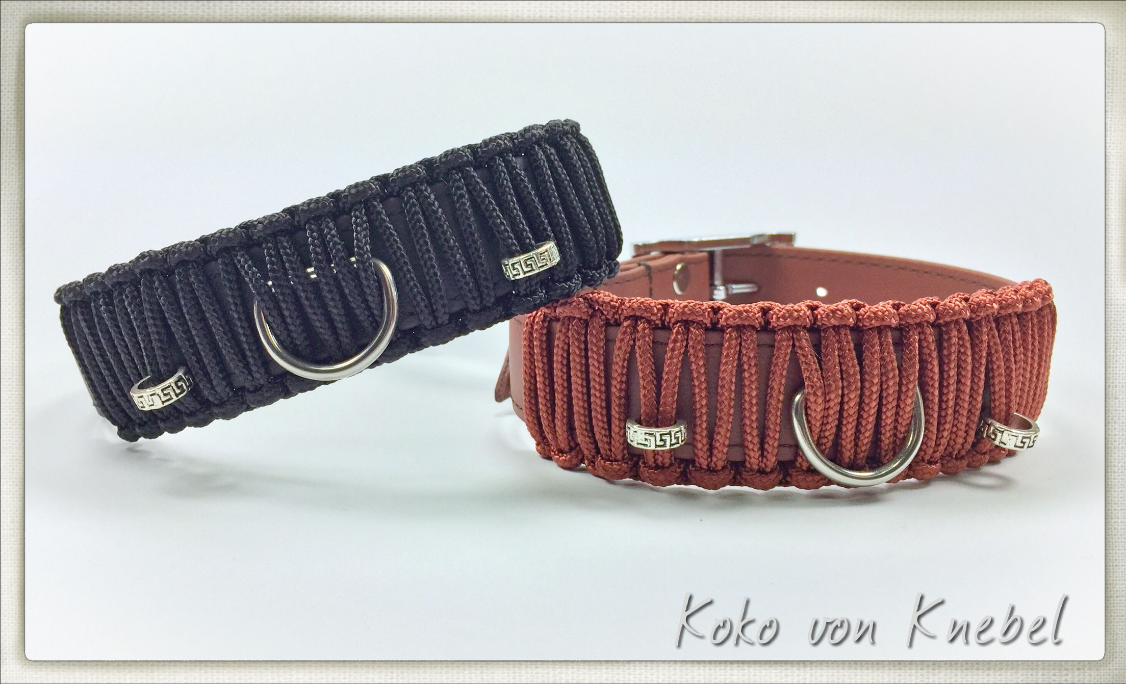 Looking for something sporty and attractive? This collar with braided cord is durable and waterproof! Handcrafted by Koko von Knebel