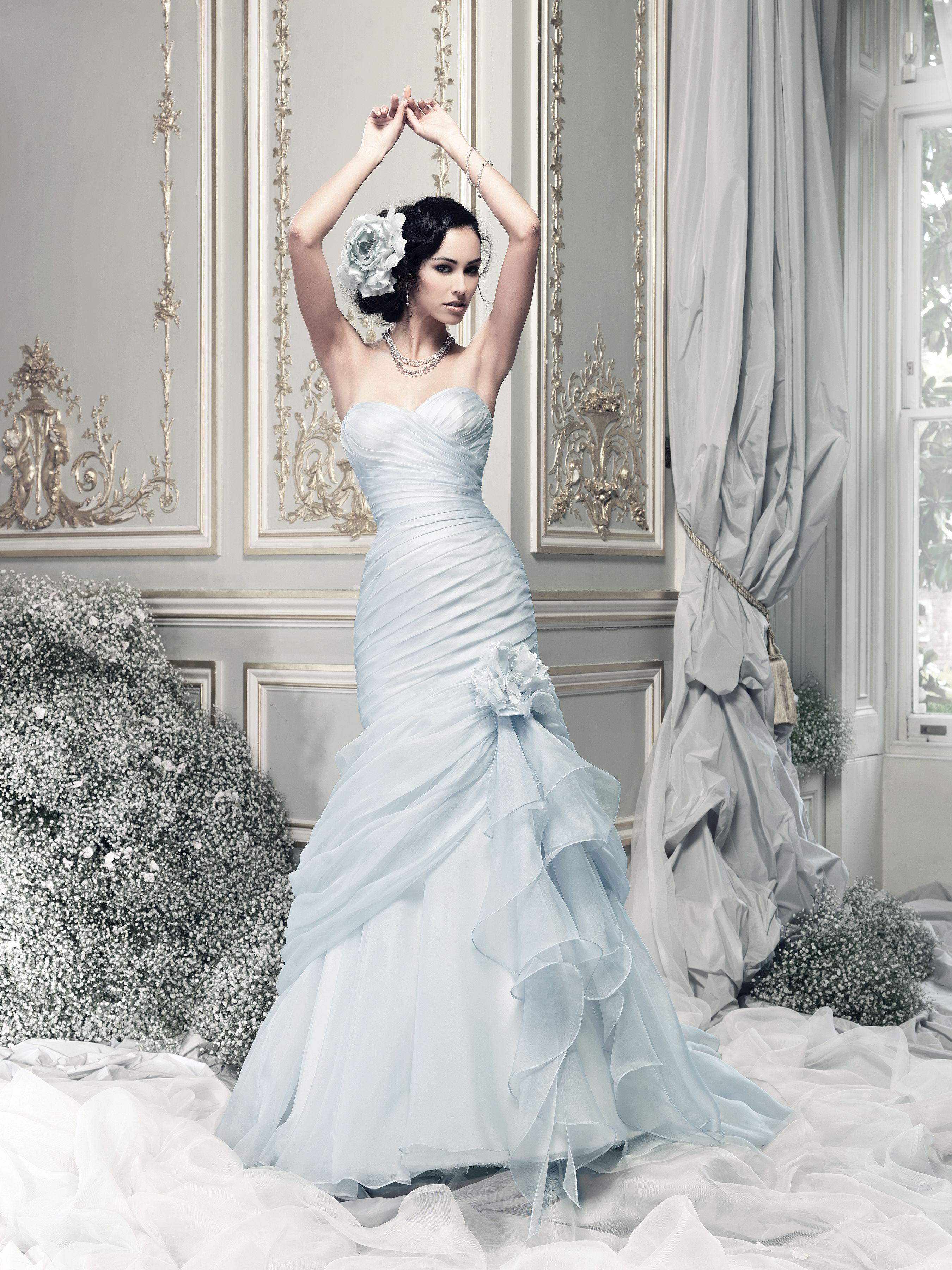Coloured wedding dresses from top uk bridal designers for Cheap wedding dresses syracuse ny