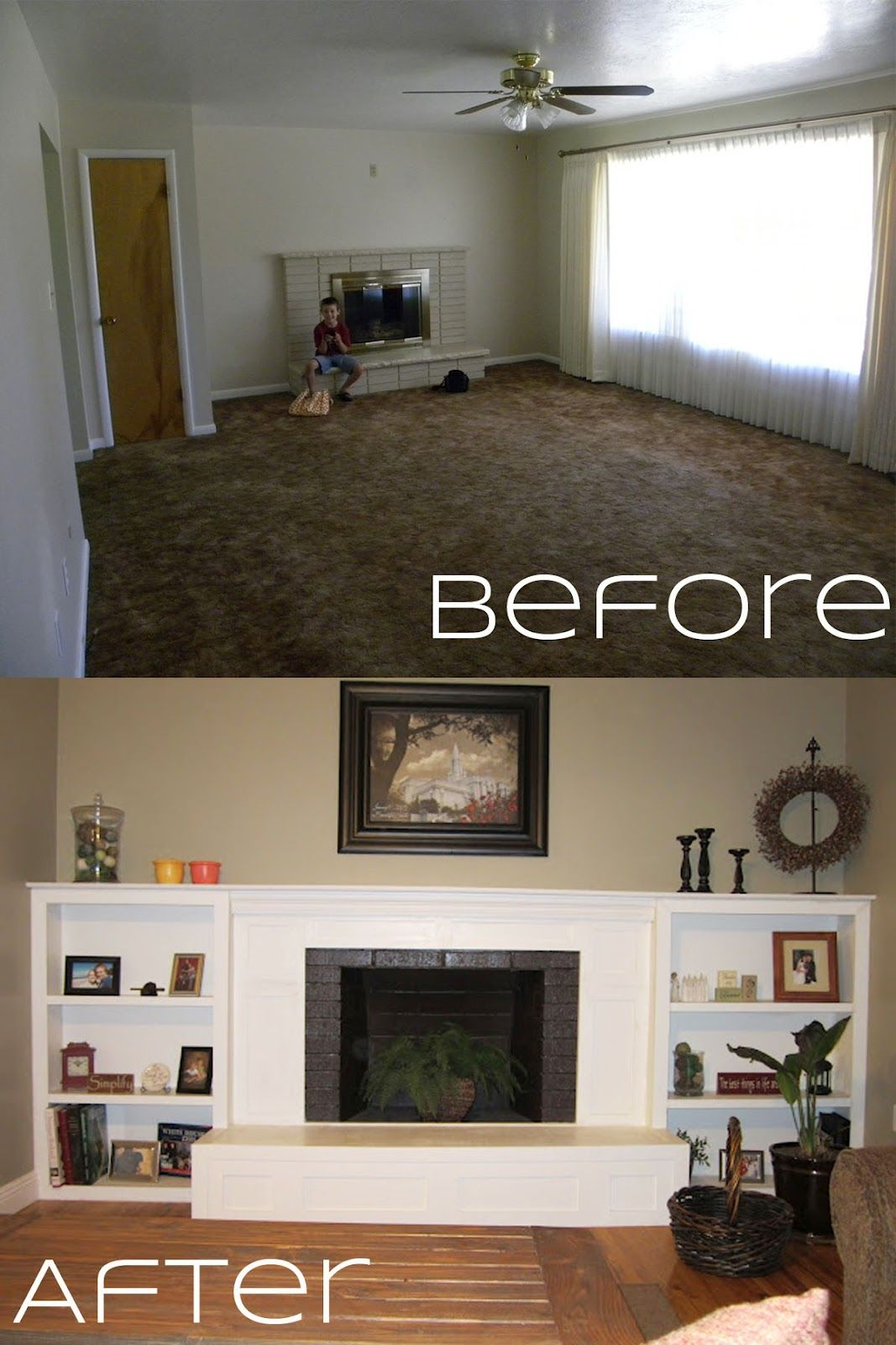 Fireplace makeovers before and after fireplace makeover for Fireplace renovations before and after