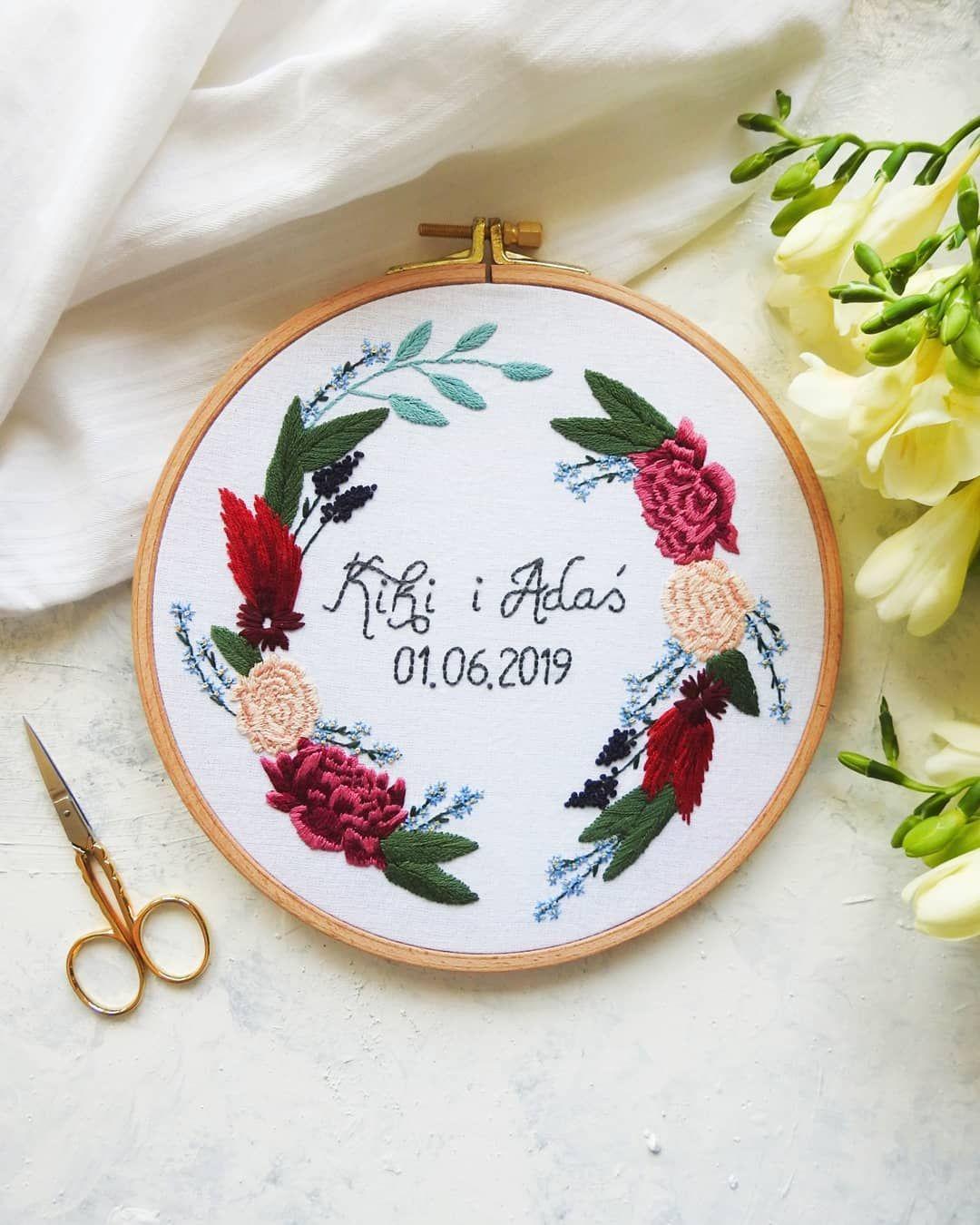 Przez Ostatnie Dwa Miesiace Mialam Tyle Zamowien Indywidualnych Ze Wciaz Nie Pokazalam Wam Wszystkiego Ten Tamborek Hand Embroidered Hoop Art Embroidery