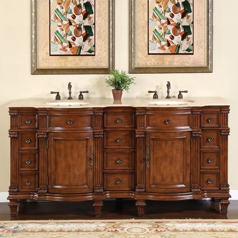 Silkroad Exclusive Travertine Stone Top Bathroom Double Vanity