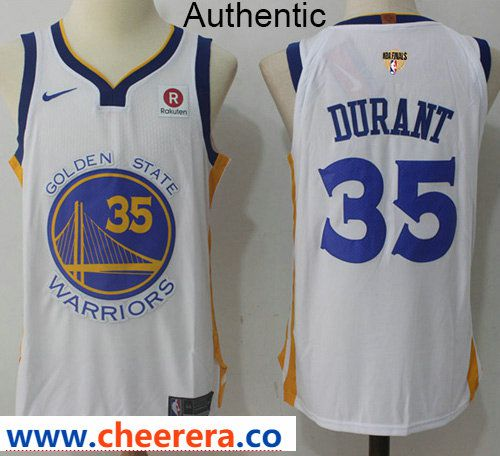 7f7af2891 Nike Warriors  35 Kevin Durant White The Finals Patch NBA Authentic  Association Edition Jersey