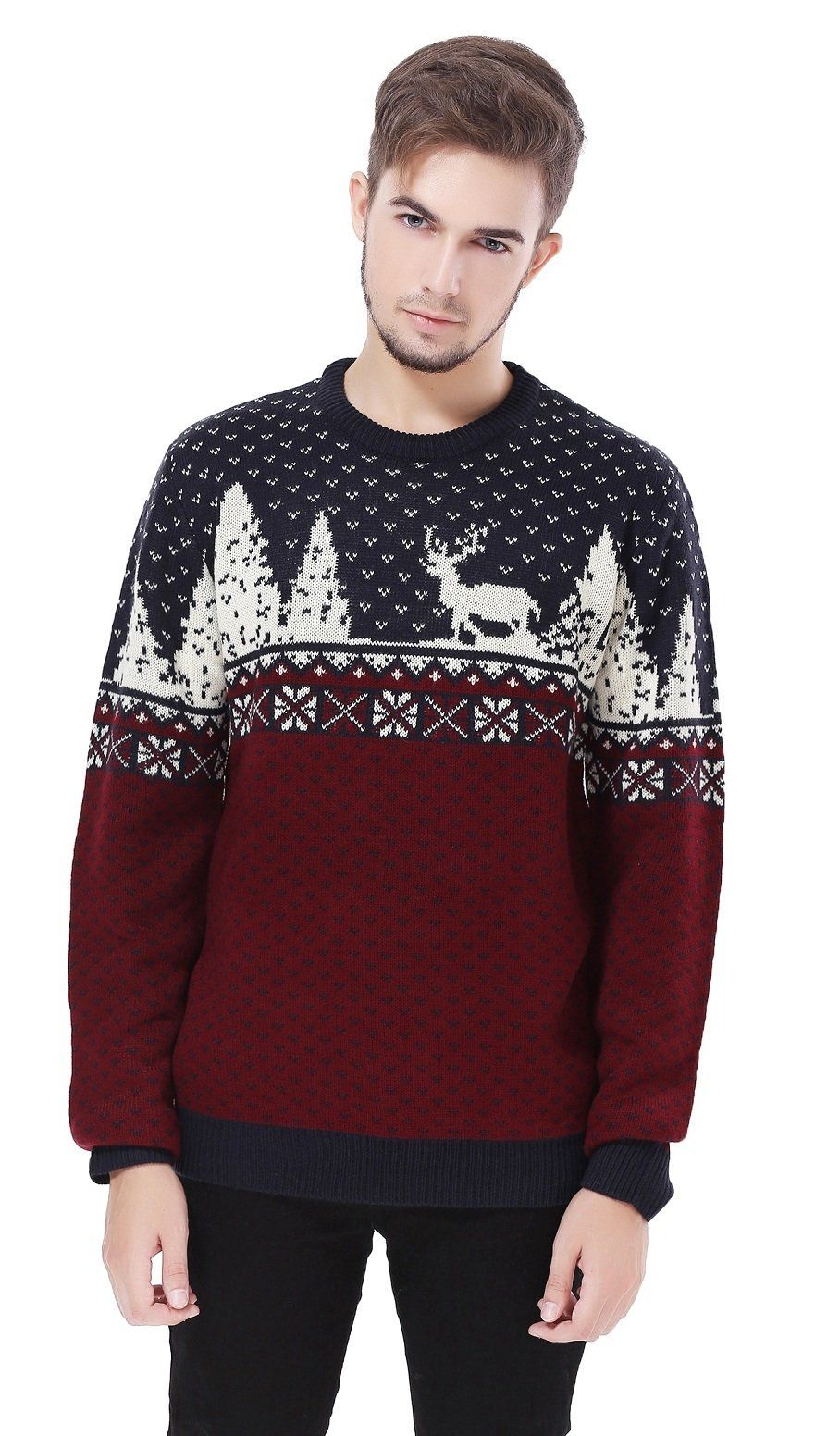 106a76c00b9 V28 Men s Christmas Sweater at Amazon Men s Clothing store