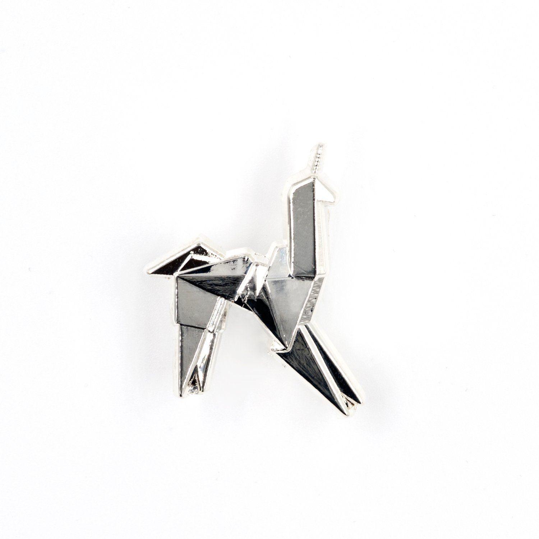 Blade Runner Origami Unicorn Pin: Origami Unicorn Enamel Pin - Silver