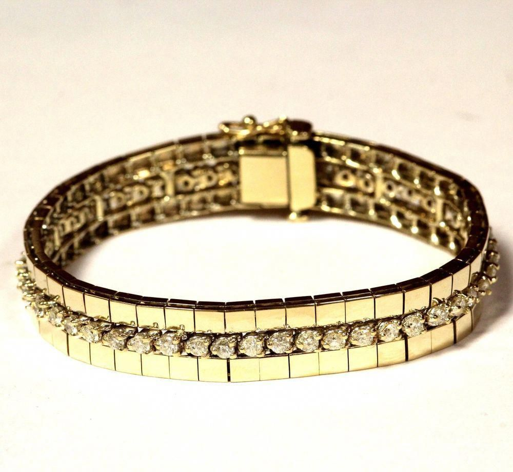 14k Yellow Gold 2 60ct Si3 I1 H Diamond Tennis Bracelet Jacket 27 3g 6 3 4 Ebay Link 4gramgold Sparkly Bracelets Tennis Bracelet Diamond Textured Bracelet