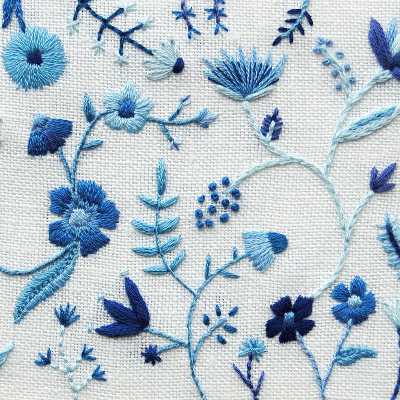 Hand embroidered photo stationery blue flowers