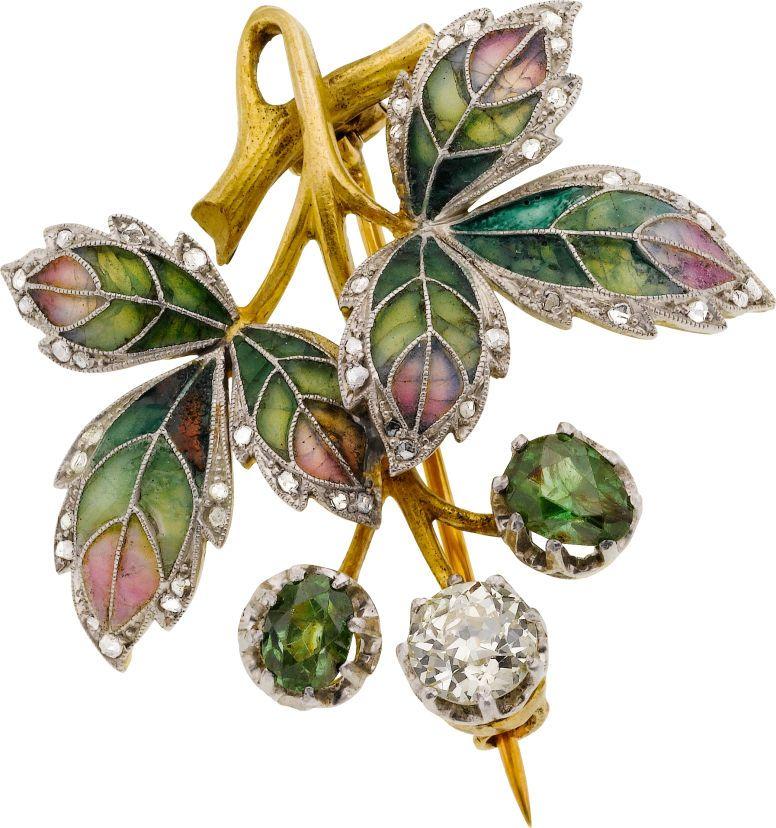 Art Nouveau Diamond, Demantoid Garnet, Plique-à-Jour Enamel, Platinum-Topped Gold Brooch, August Wilhelm Holström, Fabergé Workmaster.