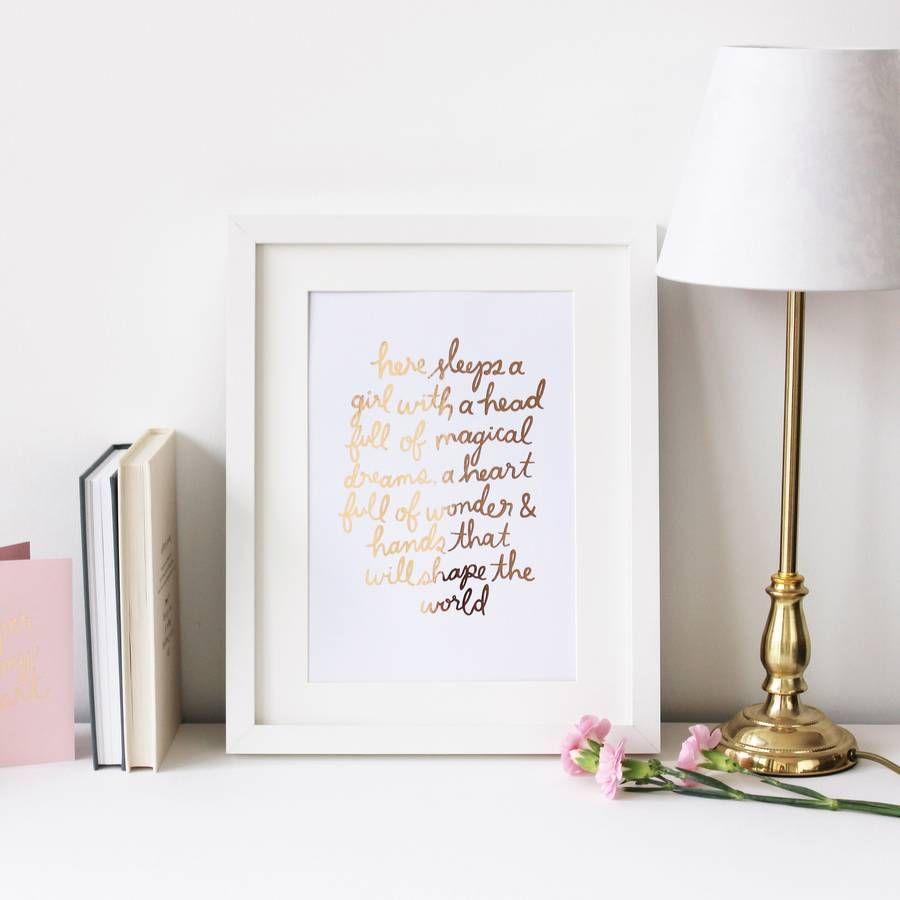 Here sleeps a girluu handwritten rose gold foil print rose gold