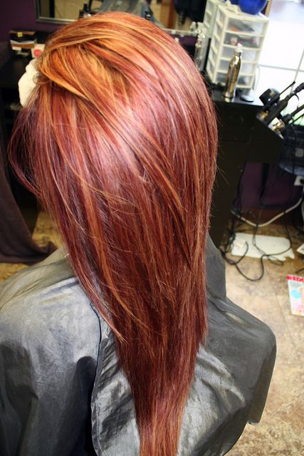 Root color-Kenra 7N/6BC/6CG+10vol, highlights- Kenra Lightener+20volume, refresh and tone down previously copper ends with Kenra Demi permanent 7N/6BC.