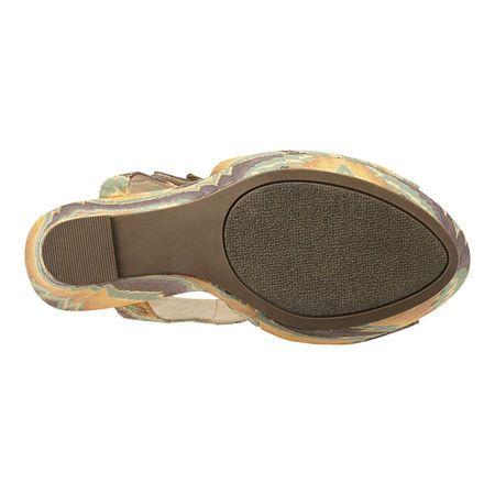 "Platform fabric sandal with adjustable buckle closure.  Measurements: wedge 5 3/4"" and platform 1 3/4""."