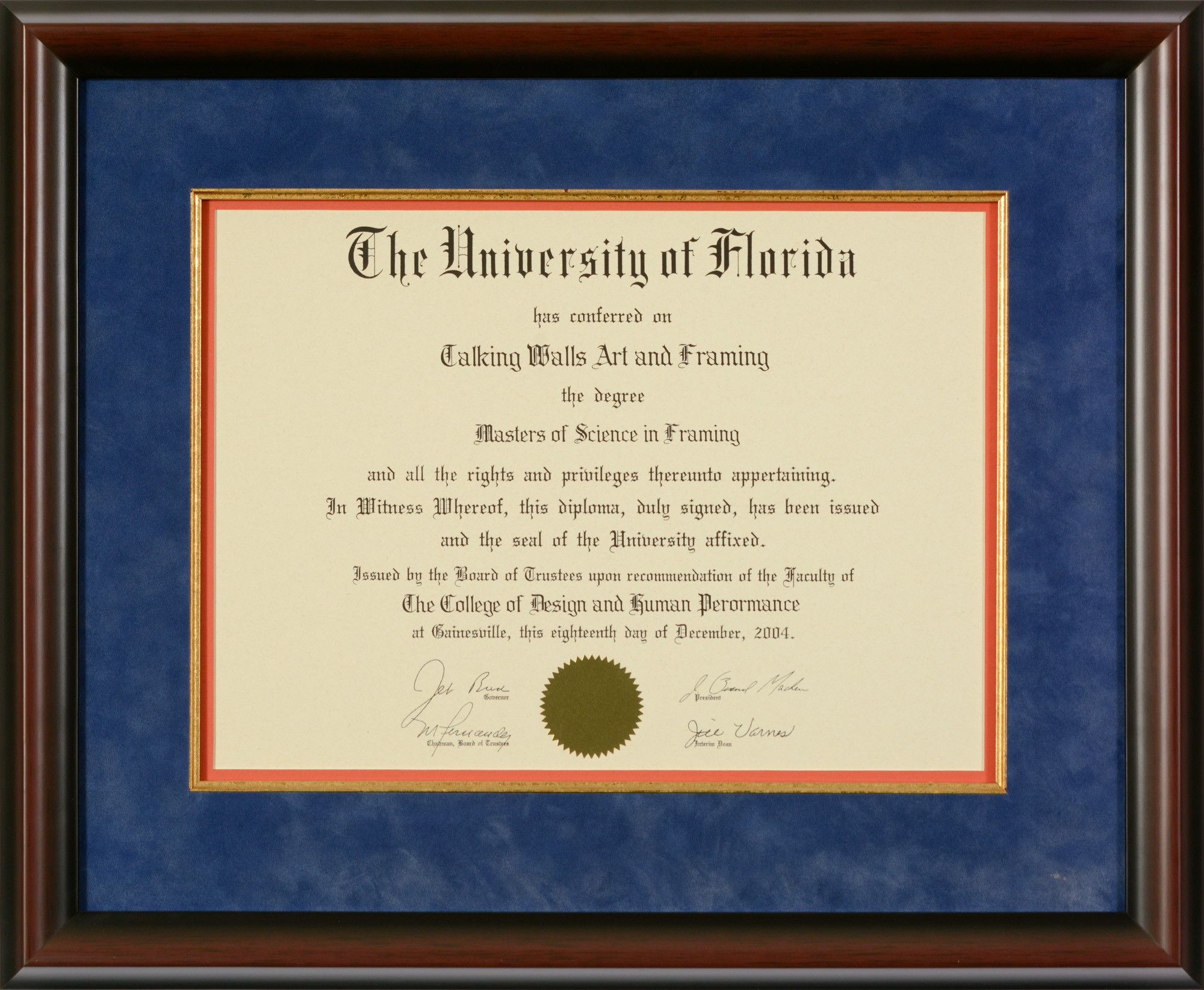 University Of Florida Diploma Frame Blue Suede Matting Talking Walls Diploma Frame Diploma University Of Florida