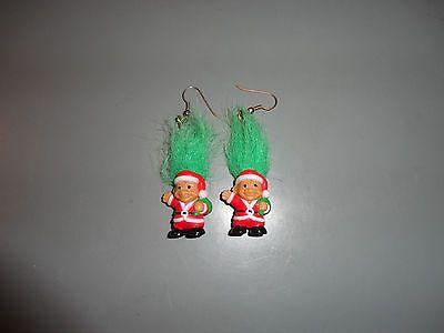 Pair of Troll Earrings Doll Russ Dam Trolls Santa Christmas Xmas Red Green Ears